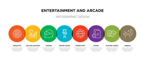 8 colorful entertainment and arcade outline icons set such as pinball, playing cards, poker, poker chip, puppet show, racing, roller coaster, roulette