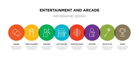 8 colorful entertainment and arcade outline icons set such as score, selfie stick, shooter, shooting game, slot machine, soprano, space invaders, spades