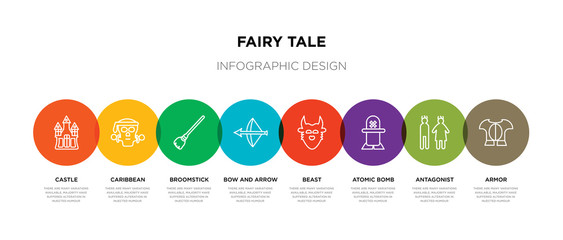 8 colorful fairy tale outline icons set such as armor, antagonist, atomic bomb, beast, bow and arrow, broomstick, caribbean, castle