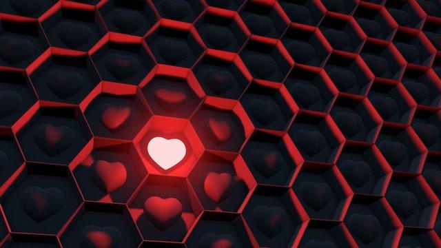concept influencer / Social  Media  Network / A shining heart /  3d illustration