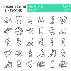 Rehabilitation line icon set, therapy symbols collection, vector sketches, logo illustrations, physiotherapy signs linear pictograms package isolated on white background.