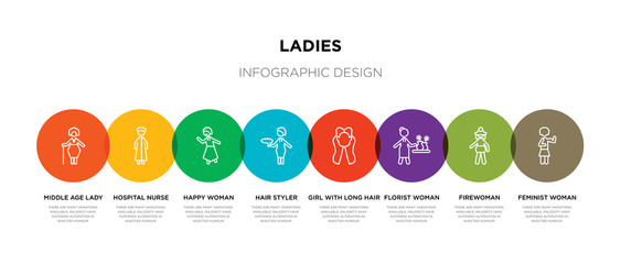 8 colorful ladies outline icons set such as feminist woman, firewoman, florist woman, girl with long hair, hair styler, happy woman, hospital nurse, middle age lady