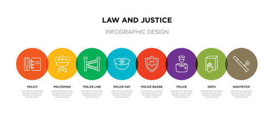 8 colorful law and justice outline icons set such as nightstick, oath, police, police badge, police hat, line, policeman, policy