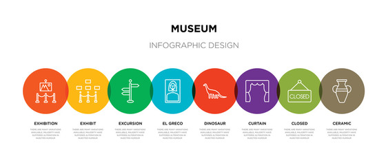 8 colorful museum outline icons set such as ceramic, closed, curtain, dinosaur, el greco, excursion, exhibit, exhibition