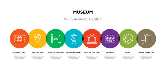 8 colorful museum outline icons set such as metal detector, mummy, museum, museum building, canvas, fencing, map, ticket