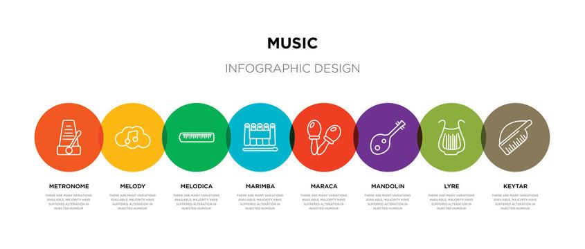 8 colorful music outline icons set such as keytar, lyre, mandolin, maraca, marimba, melodica, melody, metronome