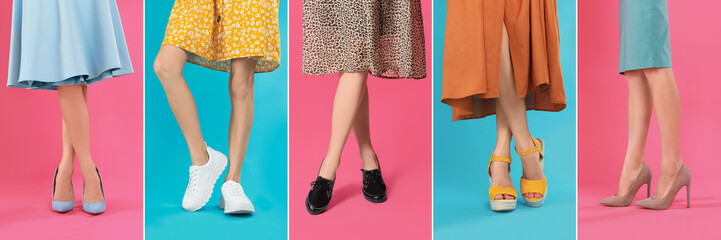 Wall Mural - Collage of women wearing different stylish shoes on color backgrounds, closeup