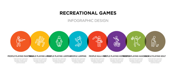 8 colorful recreational games outline icons set such as people playing golf, people playing handball, people playing hopscotch, hula hop, jumping, jumping rope, limbo, paintball