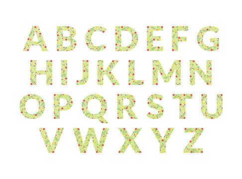 Green Floral Alphabet, Font Uppercase Letters Made of Leaves and Flowers Pattern Vector Illustration