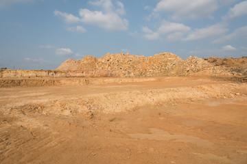 Papiers peints Desert de sable Earthwork heap space and sky landscape on construction site