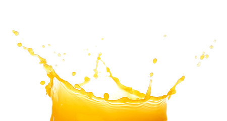 Splash of fresh orange juice on white background