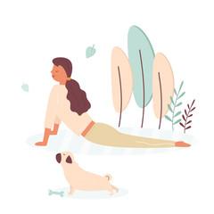 Pretty girl doing yoga with pug dog. Pet lover
