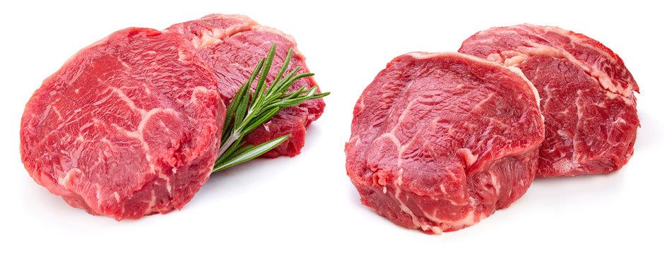 Fresh raw beef steak isolated on white background