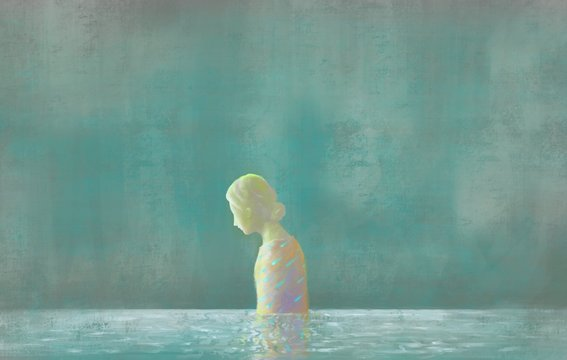 Sadness woman in water, surreal painting illustration