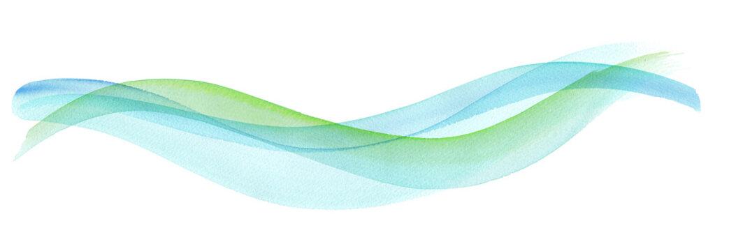 透明な水、爽やかな風の抽象イメージ。水彩イラスト。