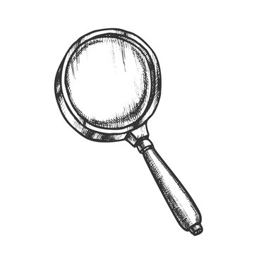 Magnifying Glass Lens Equipment Monochrome Vector. Magnifying Optical Instrument. Magnifier Tool Engraving Concept Template Hand Drawn In Vintage Style Black And White Illustration
