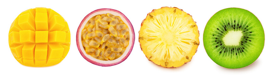 Multi-colored exotic set of passion fruit, pineapple, kiwi and mango, isolated on a white background with clipping path.