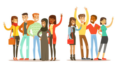 Happy People of Various Nationalities Showing Victory Sign Gestures Vector Illustration