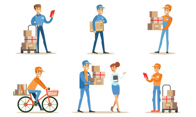 Delivery Service and Logistics Set, Couriers Characters Delivering Packages to Clients Vector Illustration