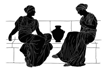 Two ancient Greek women sit on a stone parapet with a jug and communicate. Vector image isolated on white background.