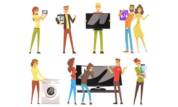People Shopping for Household Appliances Set, Happy Men and Women Choosing and Buying Electronics in Store Vector Illustration