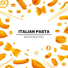 Bright rame with different types of pasta