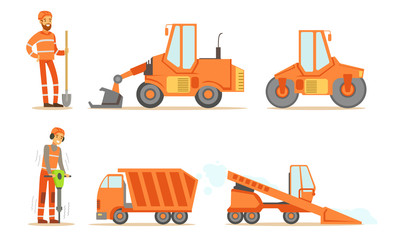 Road Construction Workers in Uniform and Industrial Machines, Bulldozer, Heavy Truck, Tractor, Paver Set Vector Illustration