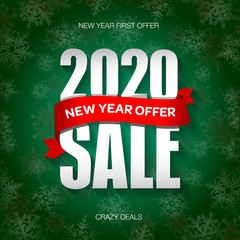 New Year 2020 sale badge, label, promo banner template. New Year offer text on ribbon