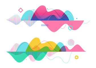 Wall Mural - Set of abstract background templates. Modern geometric vector illustration for website and banner background, presentation template, marketing and business material.