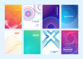 Fototapeta Set of brochure, annual report, cover design templates. Vector illustrations for business presentation, business paper, corporate document, flyer and marketing material. obraz