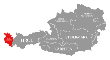 Vorarlberg red highlighted in map of Austria