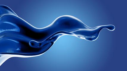 Digital rendering of blue fluid in motion