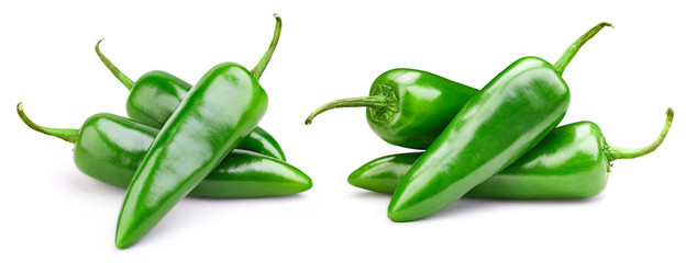 Papiers peints Hot chili Peppers Green pepper collection isolated on white background. Pepper Clipping Path.