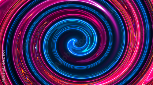Abstract Neon Background With Light Circles Geometric