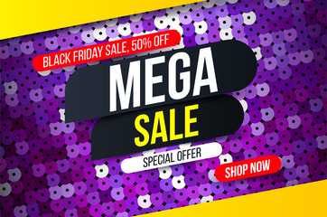 Modern Mega sale banner with purple sequin fabric effect for special offers, sales and discounts. Promotion and shopping template for Black Friday 50% off. Limited time offer