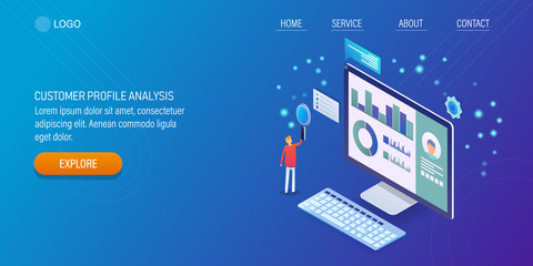Know your customer, web profile of a customer, customer data analysis, 3d isometric concept with people. Landing page template, banner.