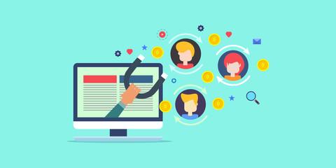 Fototapeta Inbound marketing strategy, attracting new customers through digital advertising, business development for better customer conversion concept. Flat banner template. obraz