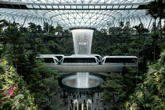 The HSBC Rain Vortex, the world's largest indoor waterfall at 40m tall, in Jewel Changi Airport, a mixed-use development at Changi Airport in Singapore, opened on 17 April 2019