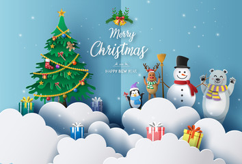 Merry Christmas and Happy New Year 2020 concept with snowman, reindeer, bear and penguin, greeting and invitation card.