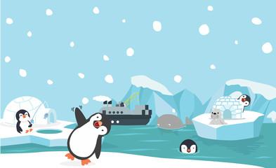 North pole animals background vector