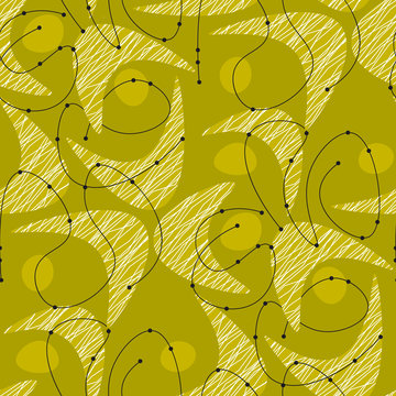 Midcentury green pattern with boomerang shapes