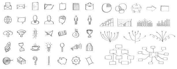 Black hand-drawn web icons collection