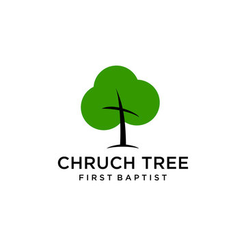 Church logo sign modern vector graphic abstract tree leaf sign