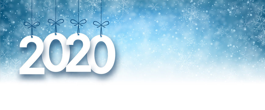 Blue 2020 New Year banner with snow.