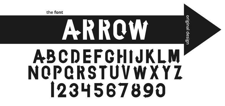 Font alphabet design with black arrow. Flat logo design.