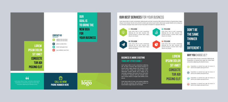 Trifold Business vector template. Brochure design, cover modern layout, annual report, poster, flyer in A4 with colorful shapes