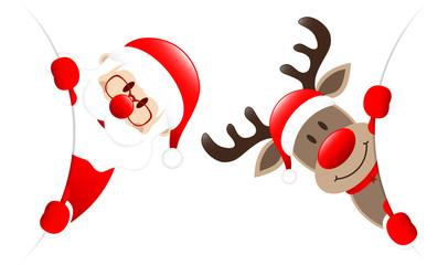 Weihnachtsmann Und Rentier Runde Banner Innen Wall mural