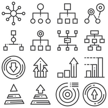 Flowchart management line icons set. linear style symbols collection, outline signs pack. vector graphics. Set includes icons as hierarchy structure, flow chart scheme, pyramid diagram, pie chart