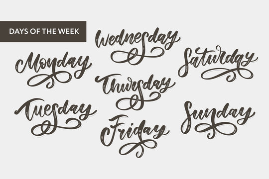 Vector handwritten week days and symbols set. Ink font. Stickers for planner and other. Clipart. Isolated.