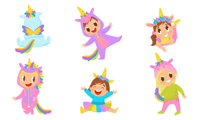 Baby Child Wearing Unicorn Costume And Laughing Vector Illustrations